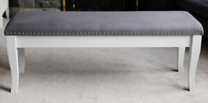 Upholstered Wooden Bench with Nailhead Trim