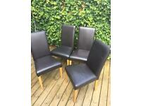 4 x Next Home Dark Brown Faux Leather Dining Chairs