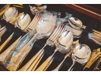 ALBANY design - 126 Piece Silver and Gold Cutlery Service set by Arthur Price