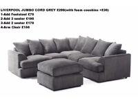 **7-DAY MONEY BACK GUARANTEE!!**- 50% OFF! Jamba Jumbo Fabric Corner Sofa- SAME/NEXT DAY DELIVERY!