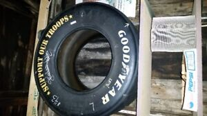 Richard Petty signed race used tire #43 Support our troops speci