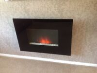 Electric Wall Mounted Black Glass Panel Fire in Exc Cond