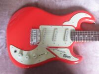 BURNS GUITAR IN GUARDS RED,LIKE HANKS,WITH HARD CASE