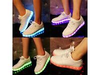 New Fashion Unisex Men Women USB Luminous LED Lights Colour Changing Flashing Sneakers Shoes