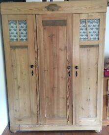 Brown, wooden, large 3 door wardrobe