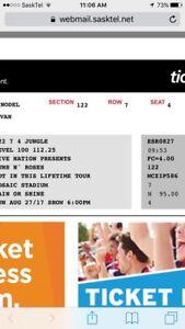 Guns n Roses tickets Regina