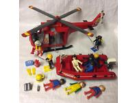 Playmobil 4428 fire & rescue helicopter boat toy set & 10 figures