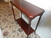 mahogany hall table with matching over mirror, excellent condition,