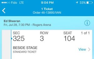 ED SHEERAN TICKET VANCOUVER JULY 28