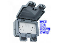 New Waterproof 13A 1 / 2 Gang 2 Way Switched Socket Double IP66 Outdoor Impact Resistant