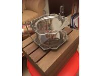 Selection of cake stands glass and silver