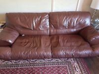 A LOVELY THREE SEATER SOFA BED AND 2 SEATER SOFA SOFT BROWN LEATHER
