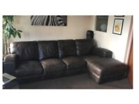 Dark brown 4 seater leather L shaped sofa