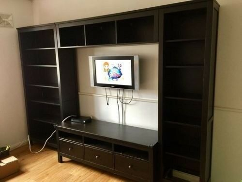 IKEA Hemnes TV Wall Unit and Bookshelves (Black)