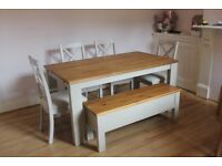 NEXT HOME 6 8 Seater Extending Dining Table Chairs And Bench Contemporary
