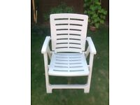 White pvc deckchairs