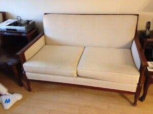 Couch and chair, solid wood and beige upholstery