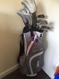 Full set of ladies Wilson golf clubs plus accessories