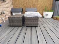 Brand new moda grey rattan stools/footstools with cushions