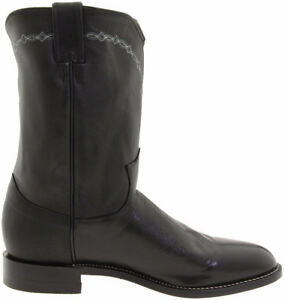 "$220 Justin  Ropers Cowboy Boot, Men's 10"", Black, 8 (Fit 8.5)"