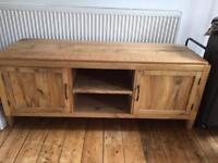 Distressed wood tv cabinet