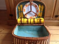 Retro wicker picnic basket