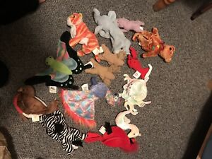 Stuffed animals including beanie babies and cabbage patch kids