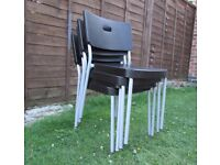 4 dining chairs IKEA black stackable chairs kitchen reception chairs FREE DELIVERY