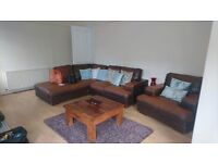 Brown corner leather sofa & chair