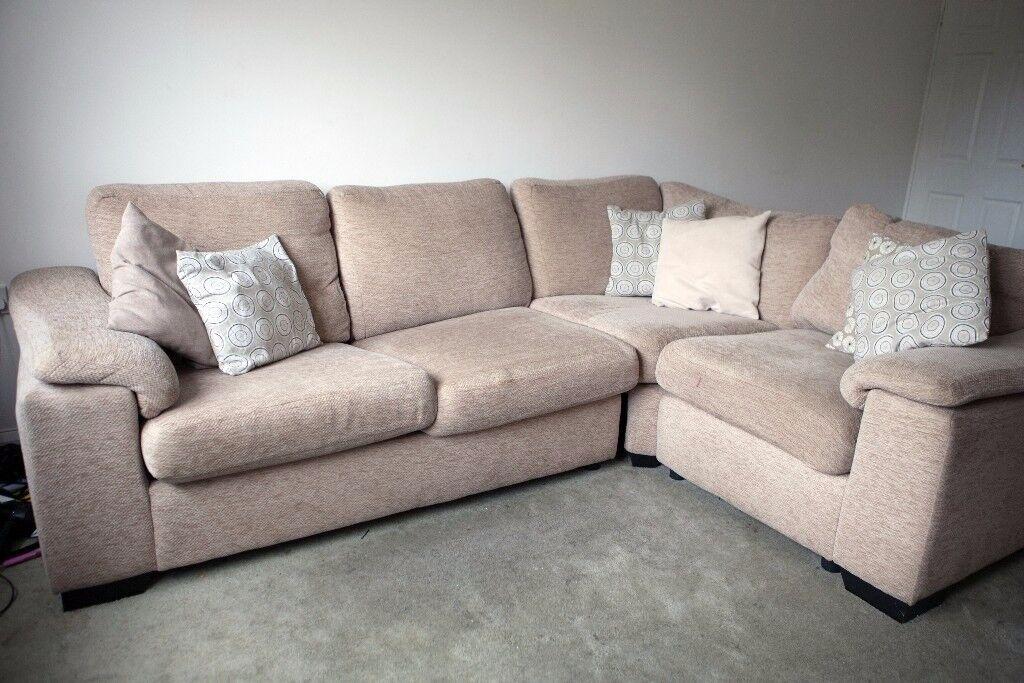 Beige/Mink Corner Sofa Bed
