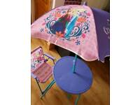 Kids chair , table with umbrella