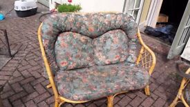 Wicker conservatory furniture set. 2 seater sofa, 2 armchairs, 1 table, 1 drawer set