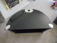Black glass and chrome television stand - excellent condition