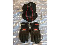 Hein Gericke Goretex leather motorcycle gloves and Oxford snood