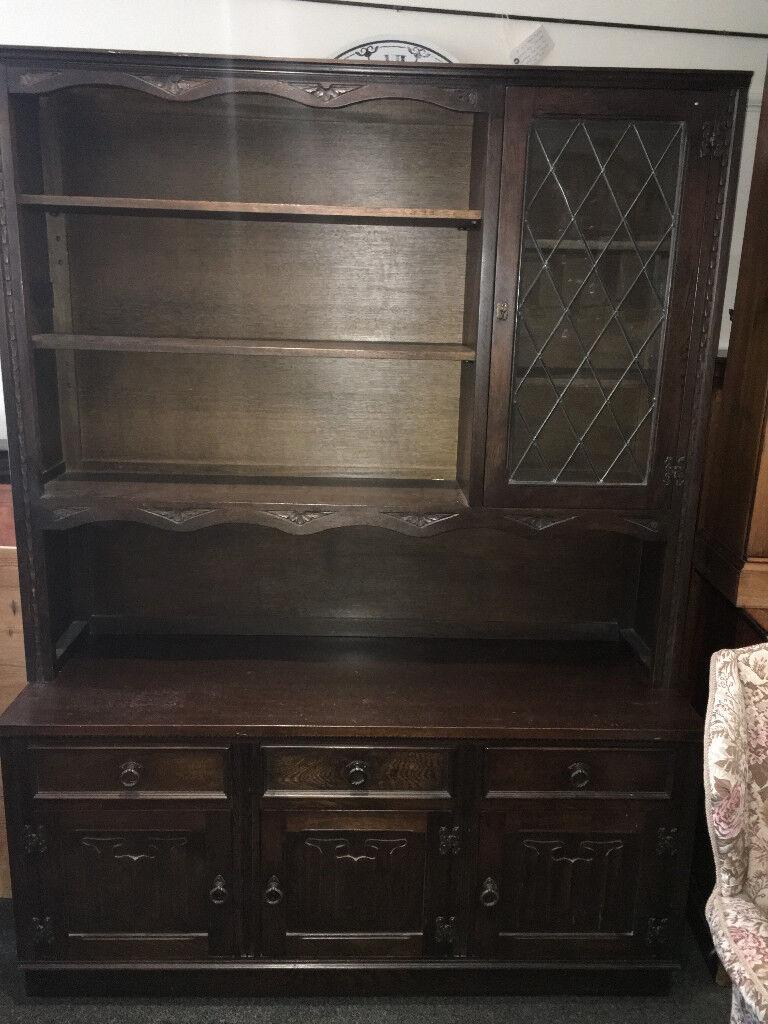 Splendid Lockable Jaycee Old Charm Solid Oak Carved Welsh Dresser Display Cabinet