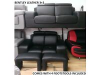 lowest price full leather sofas ever, duke bentley supra 3+2 sofa set + recliners, chesterfields LIV