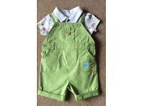 Baby Boy Mothercare Green Short Dungarees & Bodysuit 0 - 3 Months