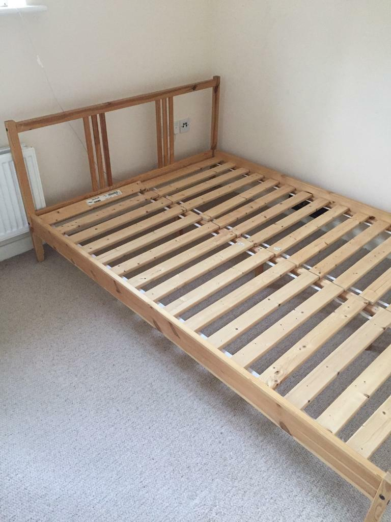 Double wooden bed with clean mattress can delever