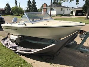 14 ft vanguard fishing boat with a 60 HP evinrude motor