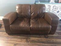 2 seater Italian Leather Sofa ( Natural Hide )