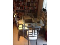 6 Seater Contemporary Glass Dining Room Table And Chairs With Matching Coffee