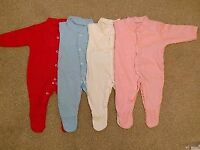 Brand new plain baby grows sleepsuites