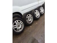 X4 Volkswagen Golf alloy wheels 4 good tyres 205 55 zr16 5 stud