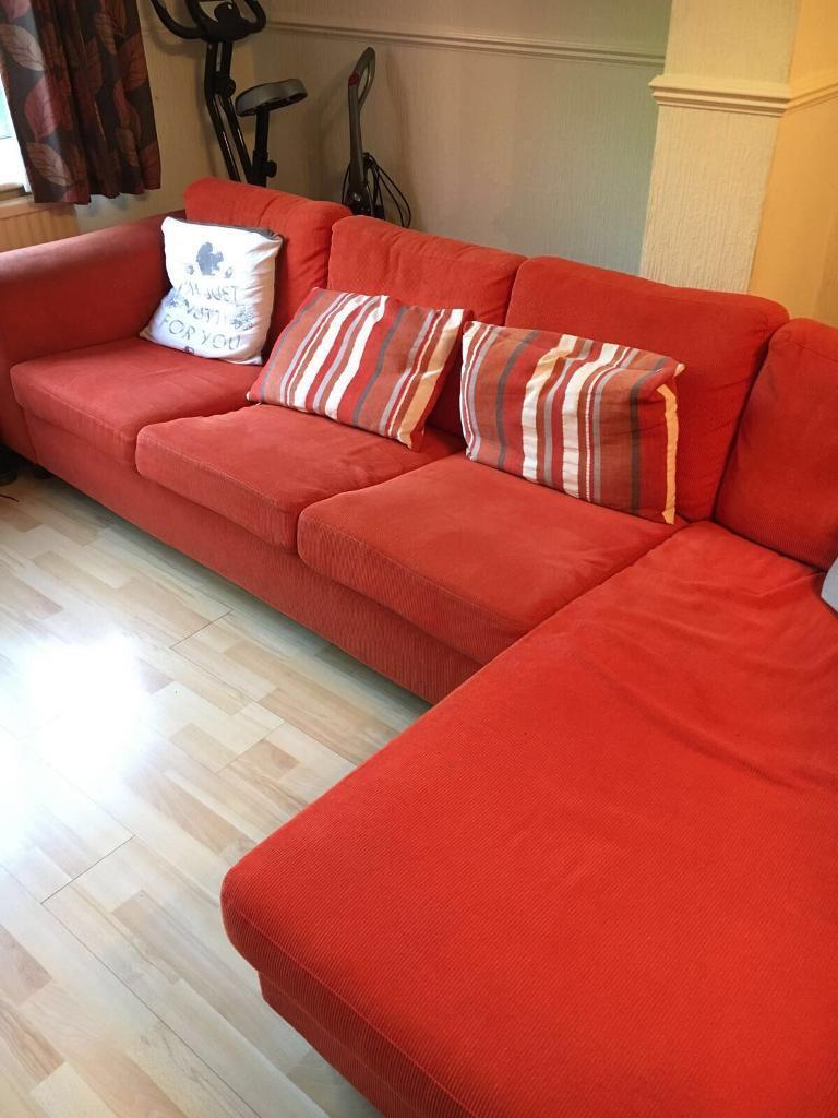 Orange Corner Sofa With Armchair