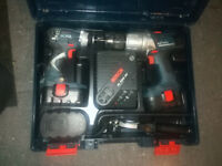 Bosch 18v combi drill and impact driver. 3X heavy duty battery pack