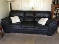 2 Dark brown leather 3 seater sofa
