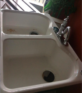 PRICED TO  SELL ASAP -  White porcelain/cast iron double sink