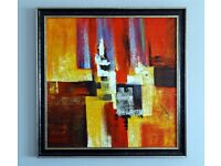 """NEW YORK 'MANHATTAN' ABSTRACT OIL PAINTING - FRAMED - 34""""x 34"""" (Number 1 of 2)"""