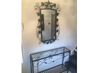 Hall mirror with console table
