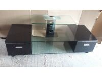 Television Stand 48x18x18 finished in black & glass